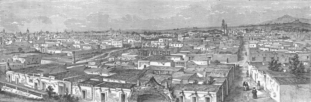Associate Product MEXICO. Puebla De Los Angeles- 1880 old antique vintage print picture