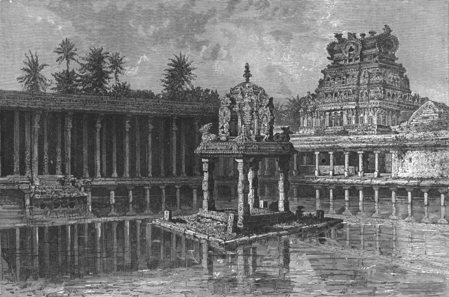 Associate Product INDIA. Sacred Pool Thiruchchirapalli 1880 old antique vintage print picture