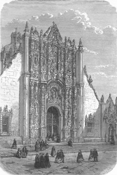 Associate Product MEXICO. Entry to Cathedral  1880 old antique vintage print picture