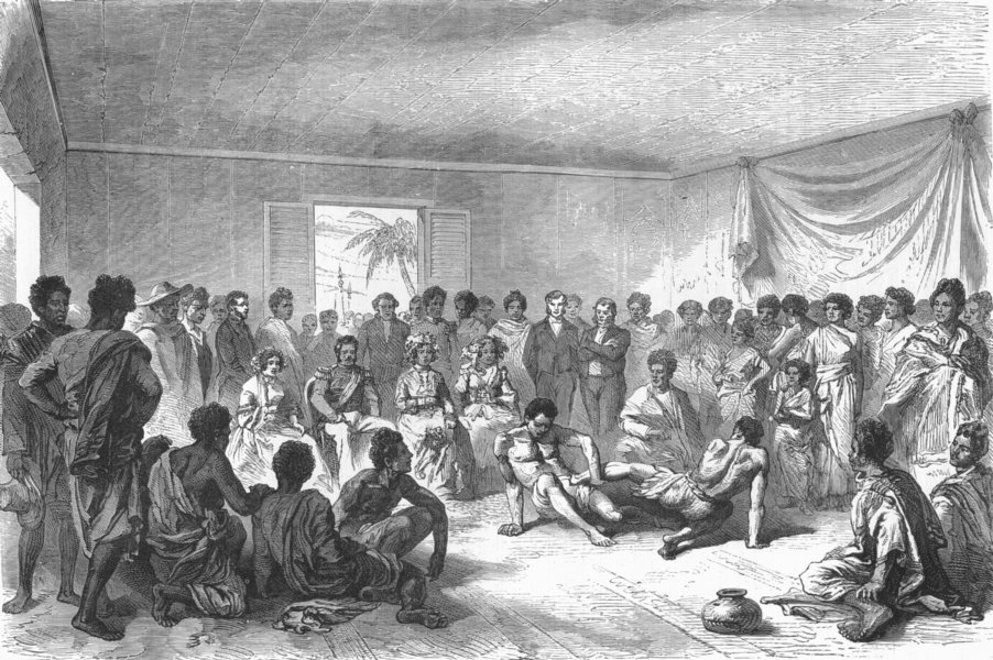 Associate Product MADAGASCAR. Wrestling match before Ct of Tananarivo 1880 old antique print