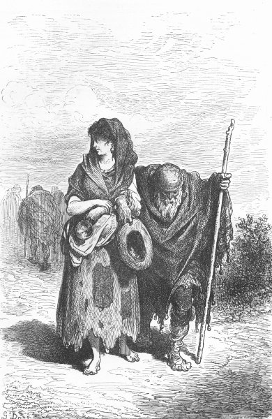 Associate Product SPAIN. Andalusia. Andalusian beggar & daughter 1880 old antique print picture