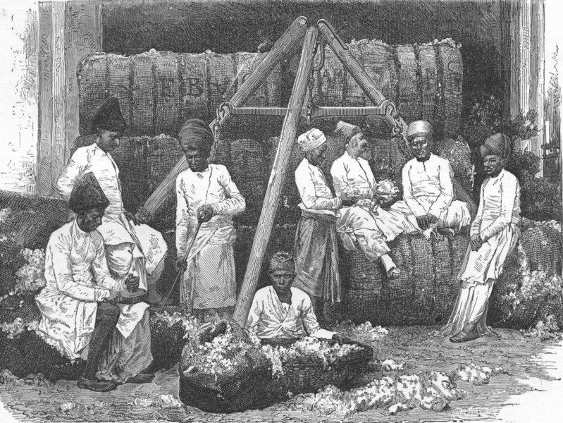 Associate Product INDIA. Mumbai & Malabar Coast. Cotton Store  1880 old antique print picture