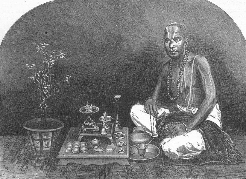 INDIA. Mumbai & Malabar Coast. Brahmin, Prayer 1880 old antique print picture