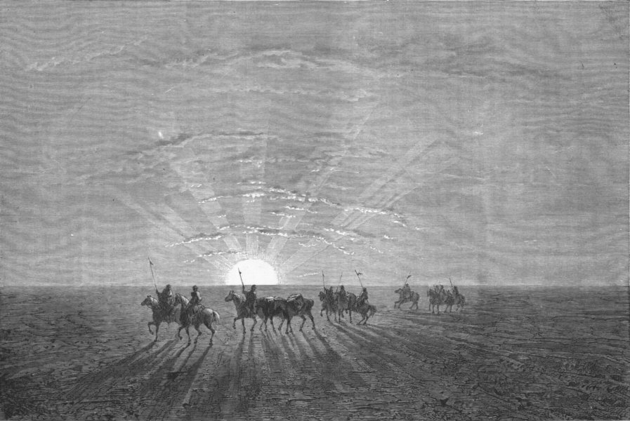 Associate Product UZBEKISTAN. Travelling across Desert of Khiva 1880 old antique print picture