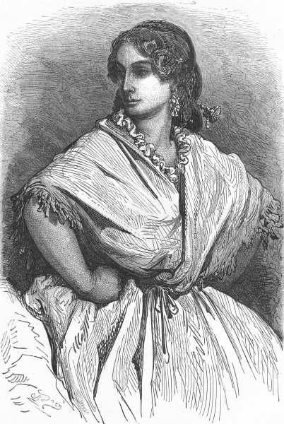 Associate Product SPAIN. Andalusia. Young Woman of Valencia 1880 old antique print picture