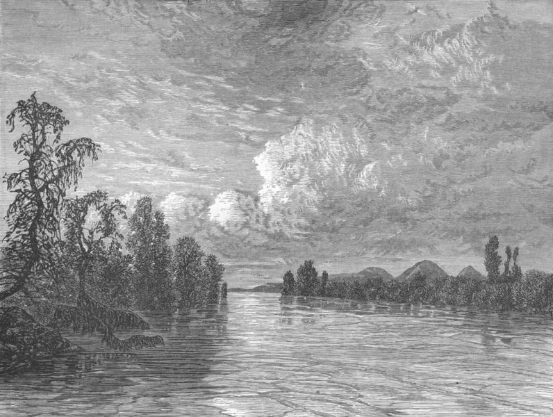 MEXICO. A water-reach 1880 old antique vintage print picture