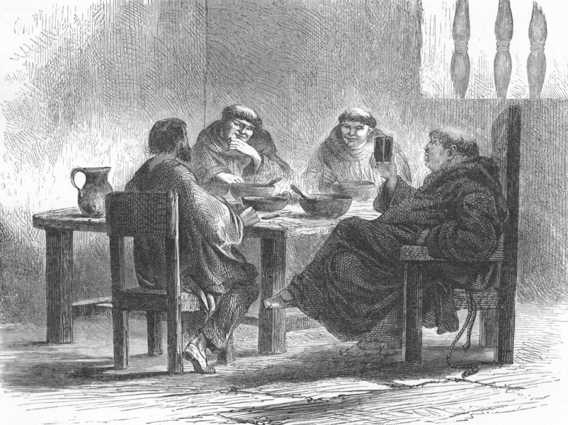 Associate Product MEXICO. Carousing in the Cloister 1880 old antique vintage print picture