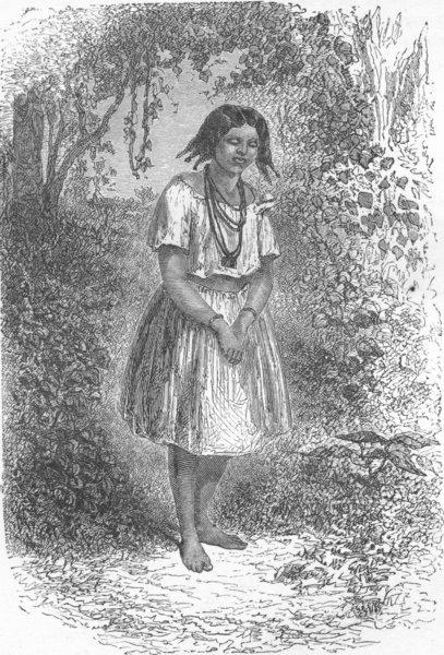 Associate Product BRAZIL. Trombetas. Cafuzo Girl 1880 old antique vintage print picture