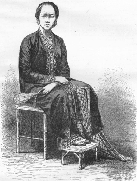 Associate Product INDONESIA. Borneo. Princess Saripa, Java 1880 old antique print picture