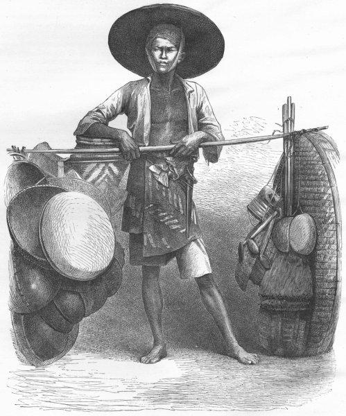 MARKETS. Borneo. Basket-seller 1880 old antique vintage print picture