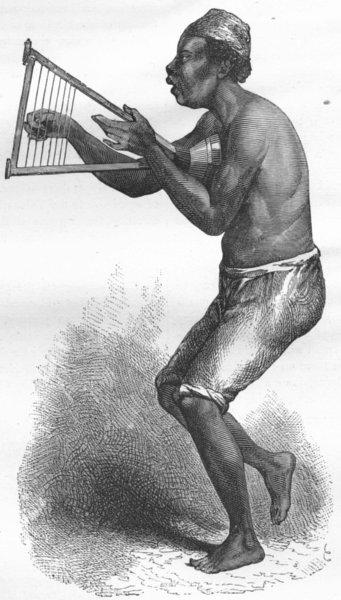 Associate Product BENIN. Kan-gro Kenikbah, or Harpist 1880 old antique vintage print picture