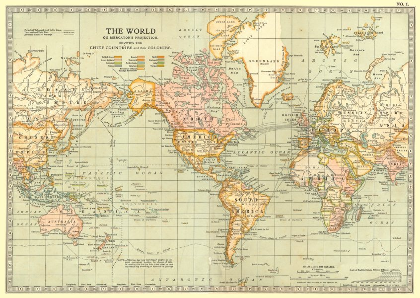 Associate Product WORLD. on Mercator projection showing colonies 1903 old antique map plan chart
