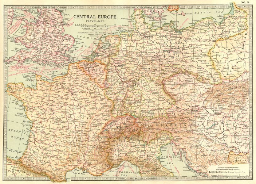 Associate Product EUROPE. Central Europe travel map. Railroads steamships 1903 old antique