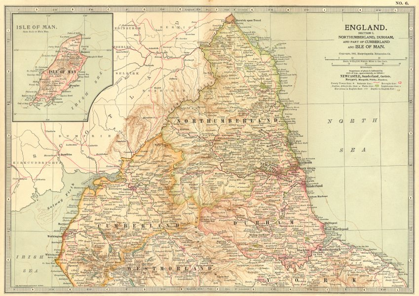 Associate Product ENGLAND NORTH EAST.Northumberland, Durham, Cumbria, Isle of Man 1903 old map