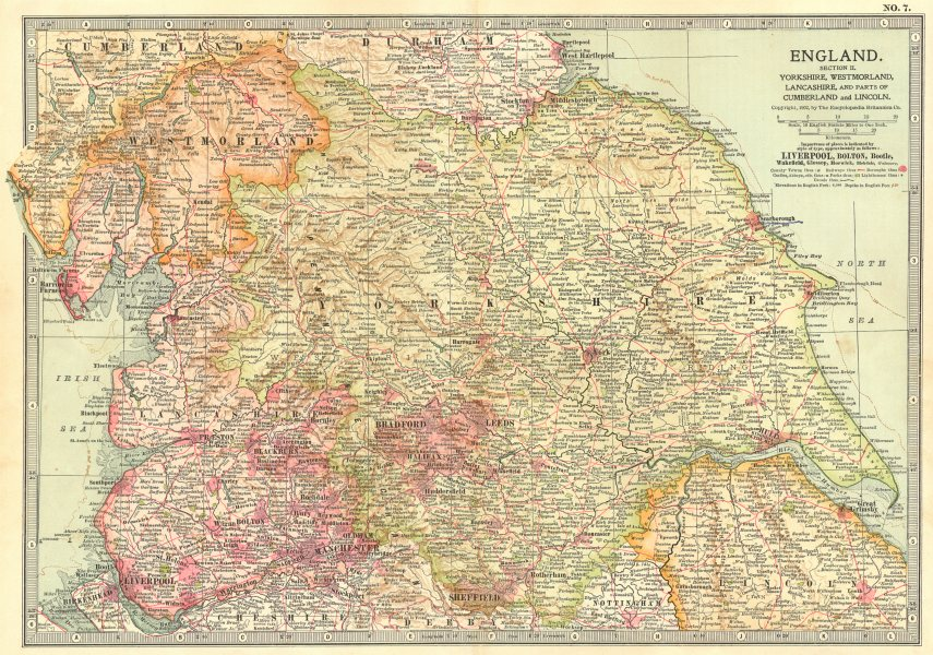 Associate Product ENGLAND NORTH. Yorks, Westmorland, Lancs, Cumbria, Lincs 1903 old antique map