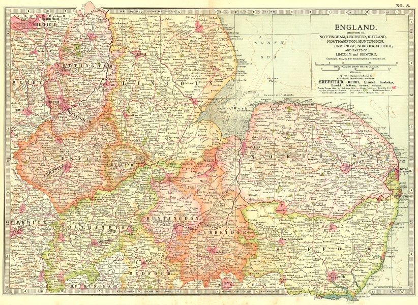 Associate Product EAST ENGLAND. Midlands Anglia Notts Leics Hunts Norfolk Suffolk 1903 old map
