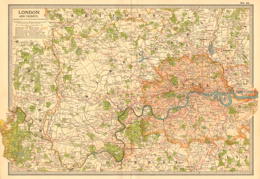 Associate Product LONDON & VICINITY.Thames valley. Middlesex Surrey Buckinghamshire 1903 old map