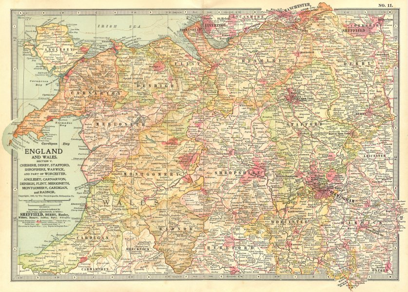 NORTH WALES WEST MIDLANDS. Cheshire Derbyshire Staffordshire Shrops 1903 map