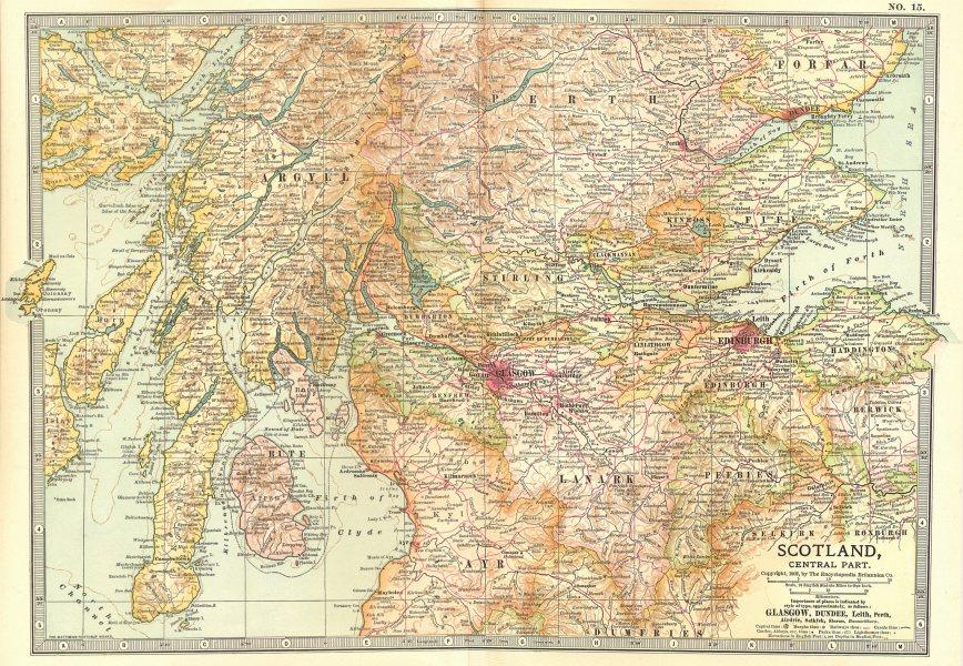 Associate Product SCOTLAND CENTRAL. Lanark Peebles Stirling Perth Argyll Ayr Fife 1903 old map