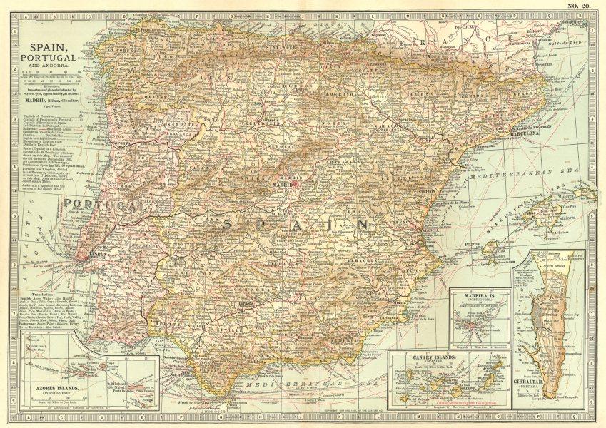Associate Product IBERIA. Spain, Portugal; Azores, Canary, Balearic; Madeira; Gibraltar 1903 map