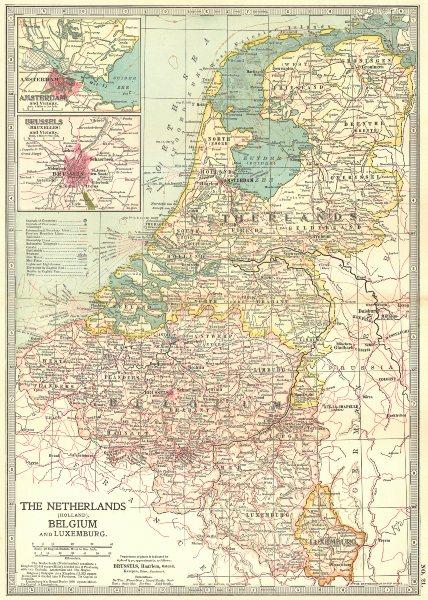 Associate Product NETHERLANDS BELGIUM LUX.Amsterdam Brussels.Shows battlefields/dates 1903 map