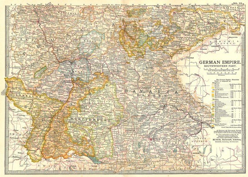 Associate Product GERMANY SW. Bavaria Baden Wurttemberg &c.Shows key battlefields/dates 1903 map