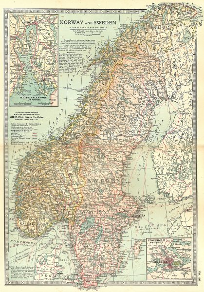 Associate Product SCANDINAVIA. Norway, Sweden; Inset Oslo, Stockholm; Kristianiafjord 1903 map