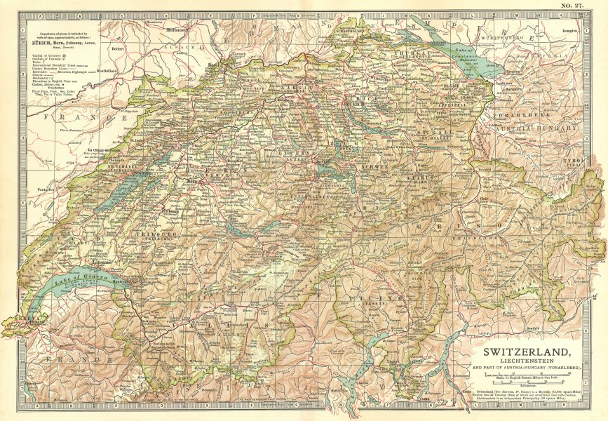 Associate Product SWITZERLAND.Shows battles fought by Old Swiss Confederacy 1315–1799 1903 map