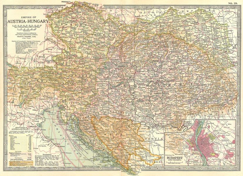 Associate Product AUSTRIA-HUNGARY. Empire; Budapest; Bosnia Croatia Slavonia Dalmatia 1903 map