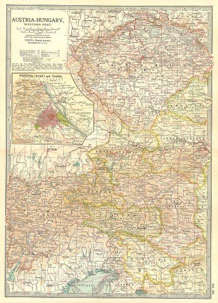 Associate Product AUSTRIA-HUNGARY WEST. Bohemia Tyrol Styria Carinthia; Vienna Wien 1903 old map