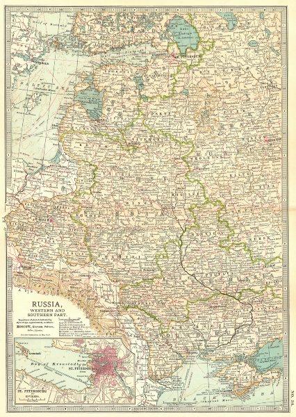 Associate Product E EUROPE.Russia Ukraine Poland Baltics St Petersburg. w/ battlefields 1903 map