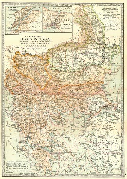 Associate Product BALKANS.Turkey Greece Bulgaria Romania Constantinople.w/ Battlefields 1903 map