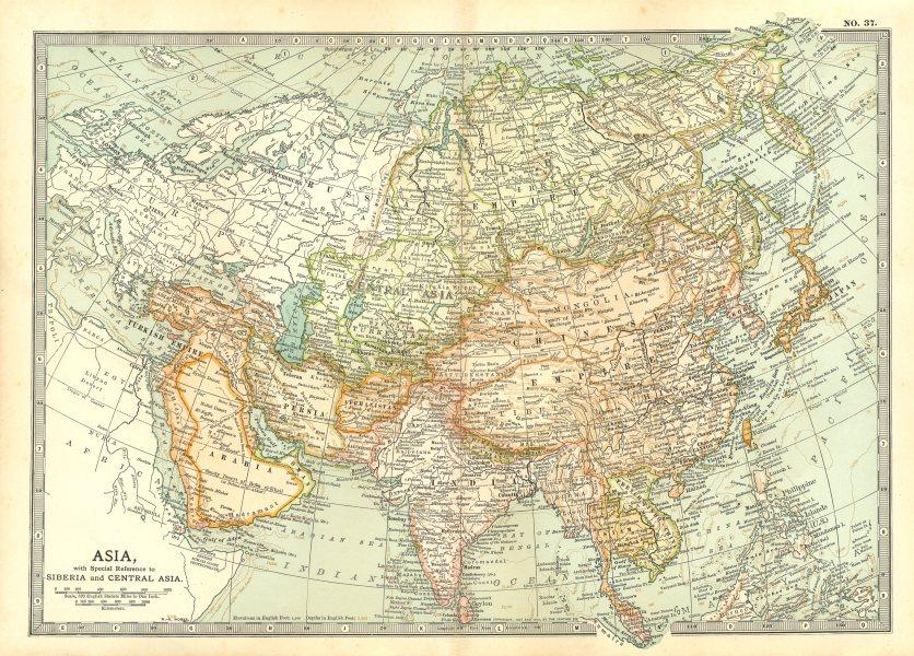 Associate Product ASIA. Siberia Central China India Arabia Indochina Siam Japan Persia 1903 map