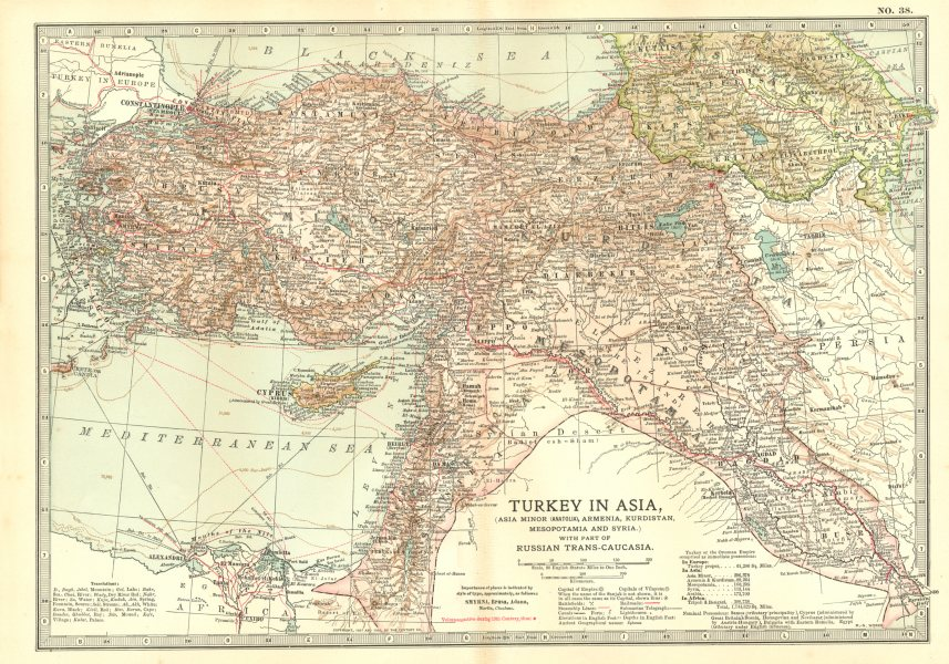 Associate Product TURKEY ASIA.shows Russo-Turkish wars battles/dates 1828/9 1853 1877/8 1903 map