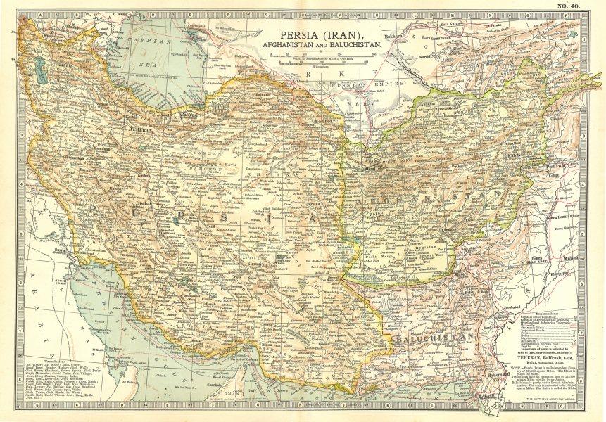 Associate Product IRAN. Persia Afghanistan & Baluchistan Pakistan 1903 old antique map chart