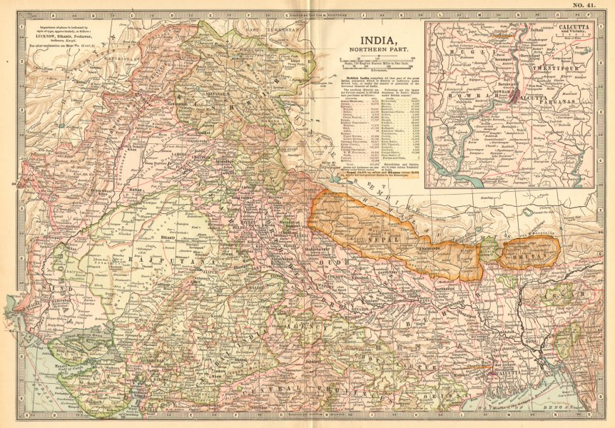 Details about INDIA NORTH NEPAL Kashmir Rajputana Punjab Calcutta w/  battlefields 1903 map