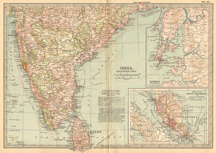 Associate Product INDIA SOUTH CEYLON. Bombay Malaysia Singapore.Shows key battles/dates 1903 map
