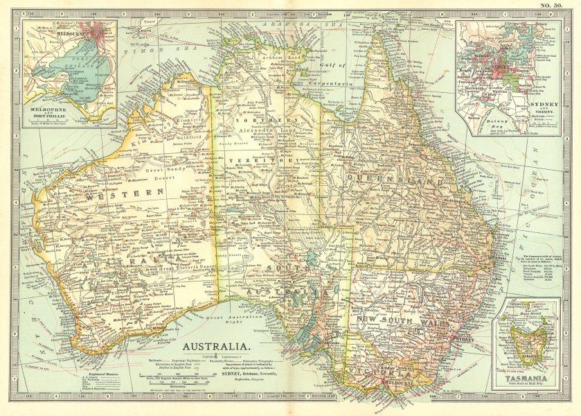Associate Product AUSTRALIA. Inset Melbourne, Port Phillip, Sydney Tasmania 1903 old antique map