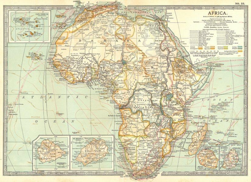 Associate Product AFRICA. Cape Verde, Mauritius, Reunion, Ascension, St Helena islands 1903 map