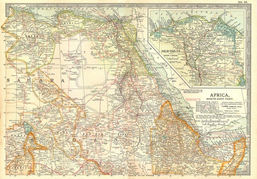 Associate Product AFRICA.Egypt Ethiopia Sudan Nile Delta.w/ 18/19C battlefields/dates 1903 map