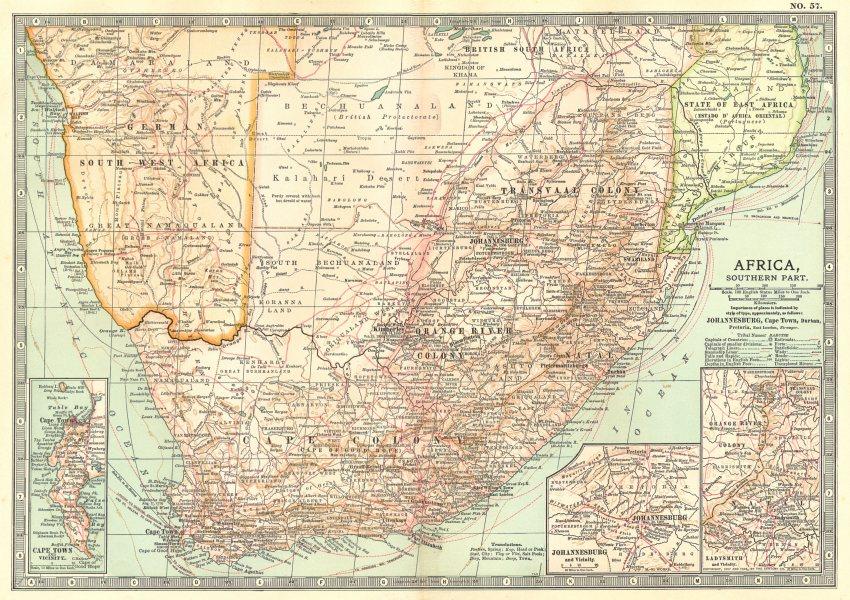 Associate Product SOUTH AFRICA. Botswana, Namibia; Cape Town, Johannesburg, Ladysmith 1903 map