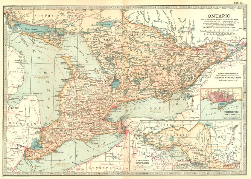 Associate Product CANADA. Ontario; Inset Toronto 1903 old antique vintage map plan chart