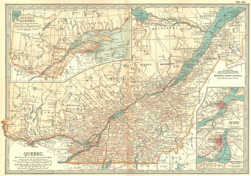 QUEBEC. Canals railroads Steamship lines Lighthouses; Inset Montreal  1903 map