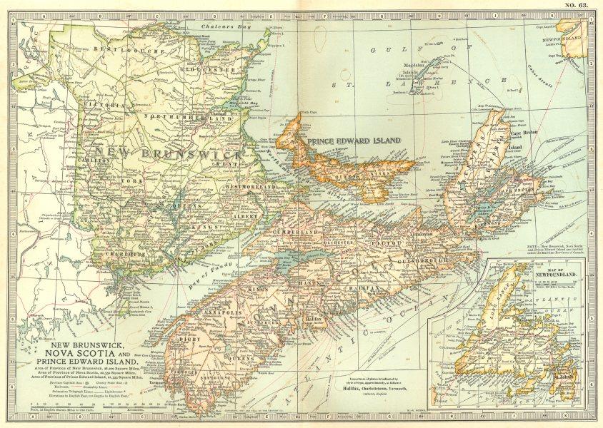 Associate Product CANADA. New Brunswick Nova Scotia Prince Edward Island Newfoundland 1903 map