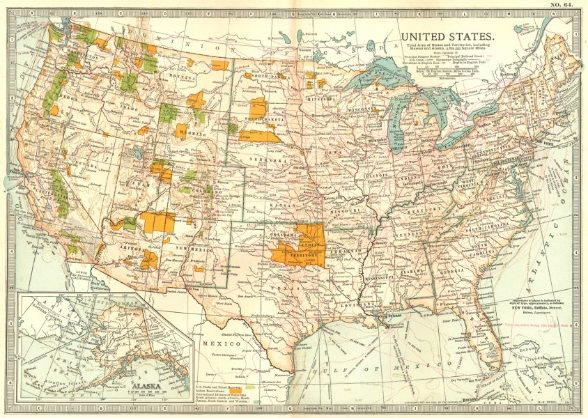Details about USA. United States showing Indian reserves, national park &  forests 1903 map