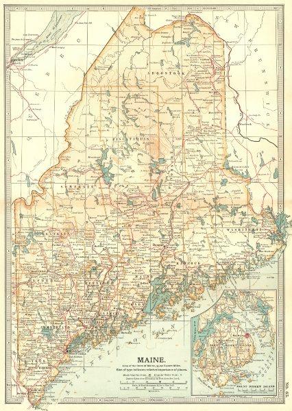 Associate Product MAINE. Inset Mount Desert Island 1903 old antique vintage map plan chart