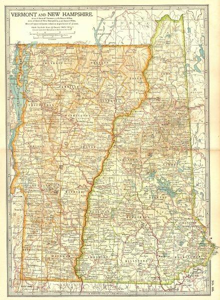 Associate Product VERMONT NEW HAMPSHIRE. Shows Revolutionary war battles/dates 1775-77 1903 map