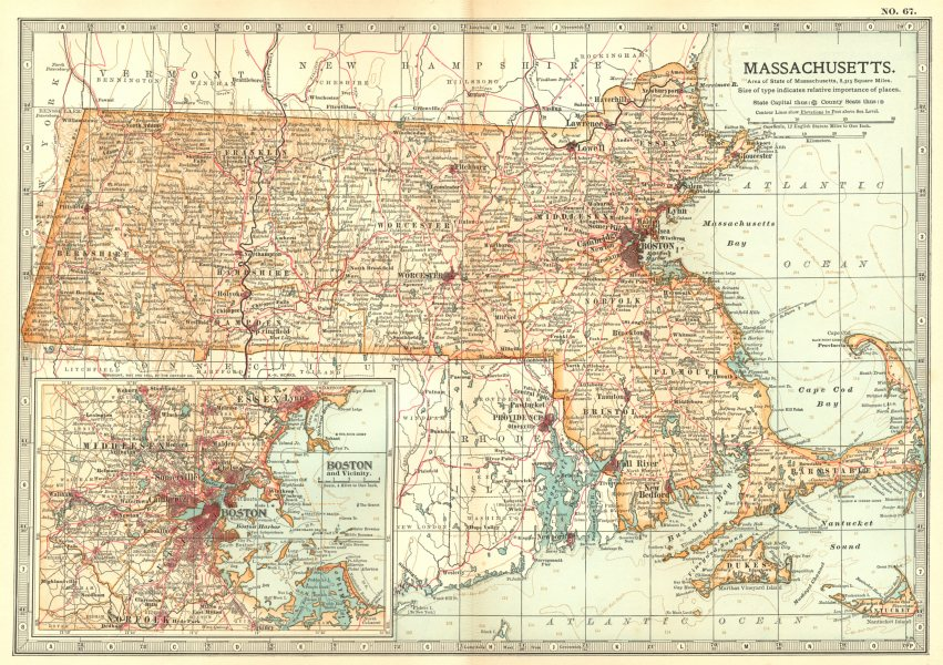 Associate Product MASSACHUSETTS. State map. Inset Boston. Britannica 10th edition 1903 old