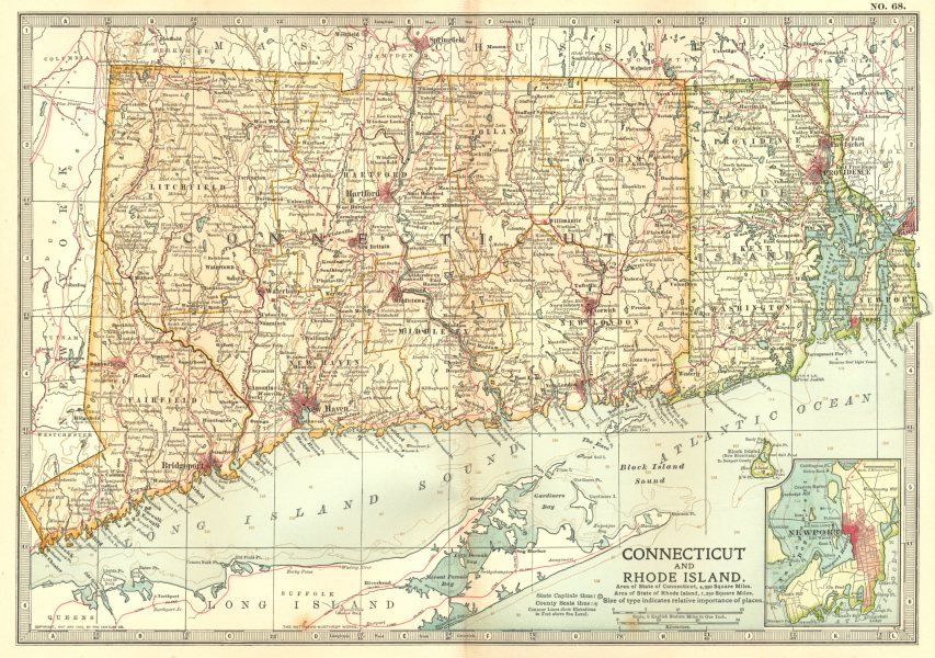 Associate Product CONNECTICUT RHODE ISLAND. Newport. Shows 1637 1675 1777 battles/dates 1903 map