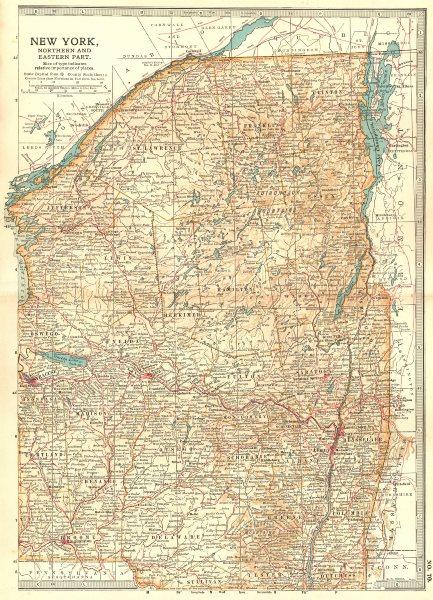 Associate Product NEW YORK STATE.North/East w/ Revolutionary War/1812 War battles/dates 1903 map